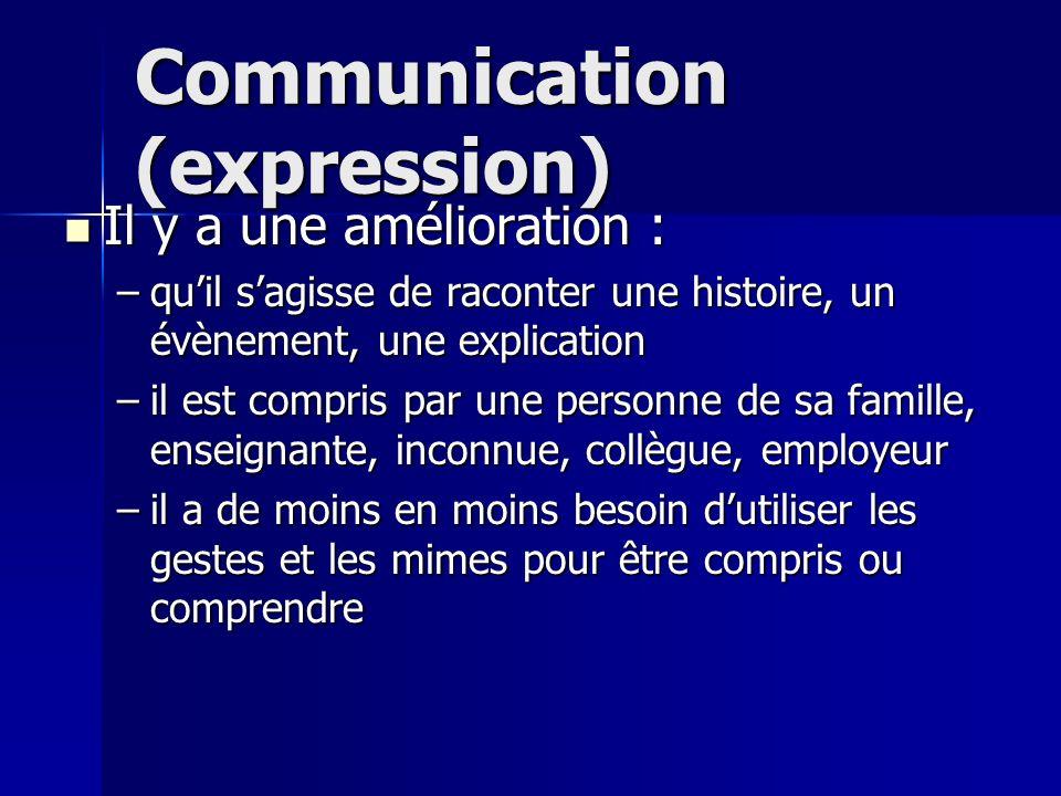 Communication (expression) Il y a une amélioration : Il y a une amélioration : –quil sagisse de raconter une histoire, un évènement, une explication –il est compris par une personne de sa famille, enseignante, inconnue, collègue, employeur –il a de moins en moins besoin dutiliser les gestes et les mimes pour être compris ou comprendre