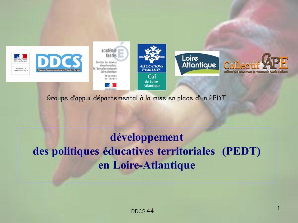 1 développement des politiques éducatives territoriales (PEDT) en Loire-Atlantique DDCS 44 Groupe dappui départemental à la mise en place dun PEDT
