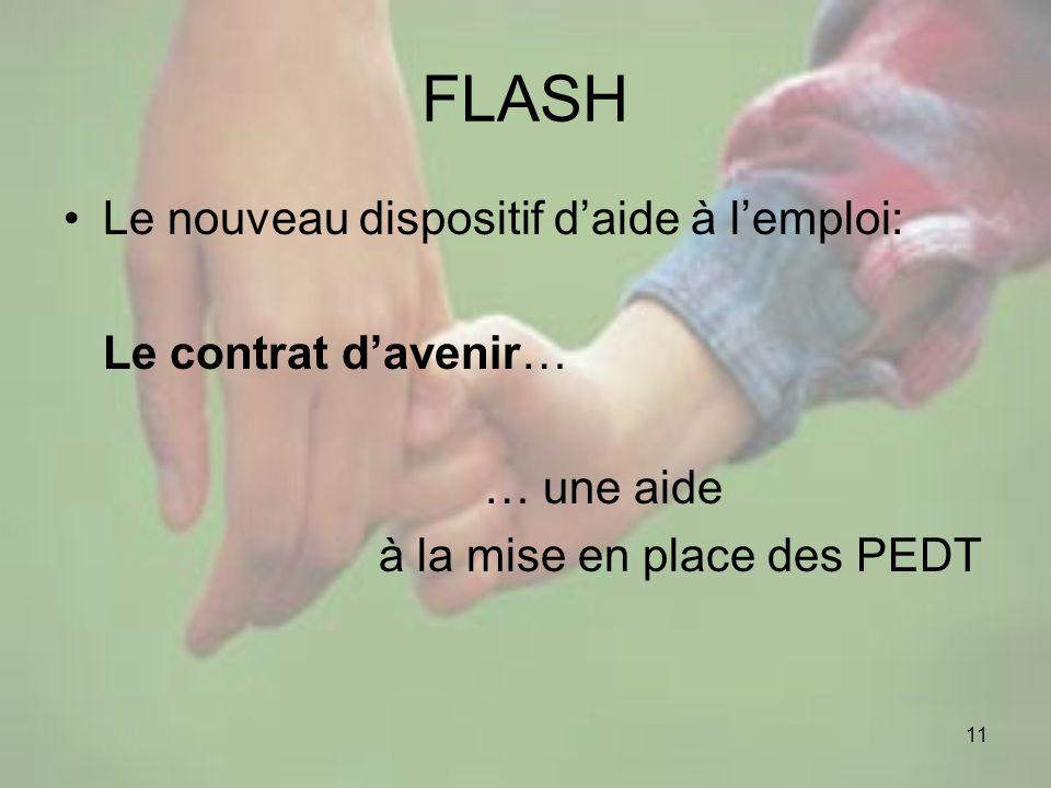 11 FLASH Le nouveau dispositif daide à lemploi: Le contrat davenir… … une aide à la mise en place des PEDT