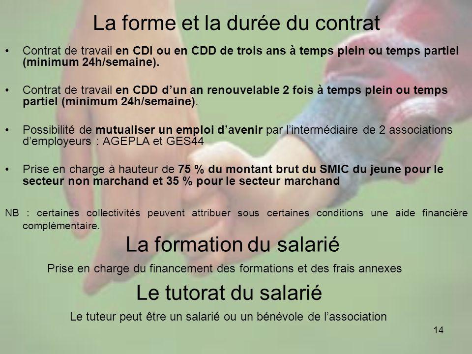 14 La forme et la durée du contrat Contrat de travail en CDI ou en CDD de trois ans à temps plein ou temps partiel (minimum 24h/semaine). Contrat de t