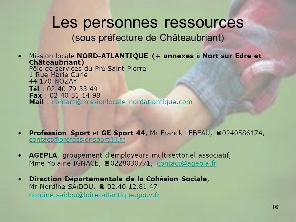 16 Les personnes ressources (sous préfecture de Châteaubriant) Mission locale NORD-ATLANTIQUE (+ annexes à Nort sur Edre et Châteaubriant) Pôle de ser