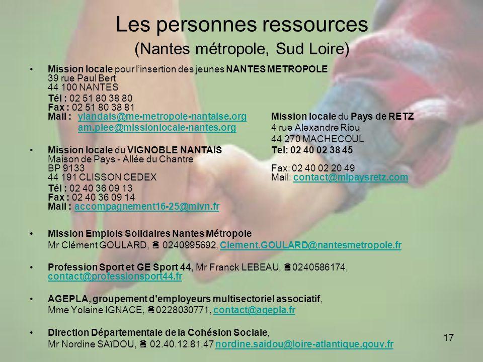 17 Les personnes ressources (Nantes métropole, Sud Loire) Mission locale pour linsertion des jeunes NANTES METROPOLE 39 rue Paul Bert 44 100 NANTES Té