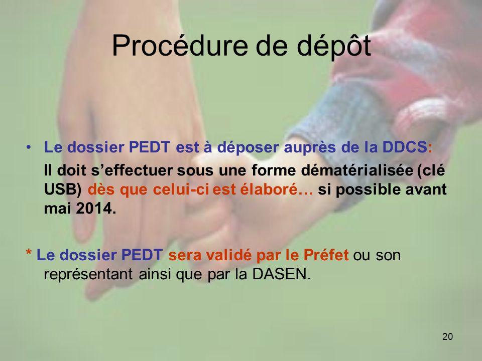 20 Procédure de dépôt Le dossier PEDT est à déposer auprès de la DDCS: Il doit seffectuer sous une forme dématérialisée (clé USB) dès que celui-ci est