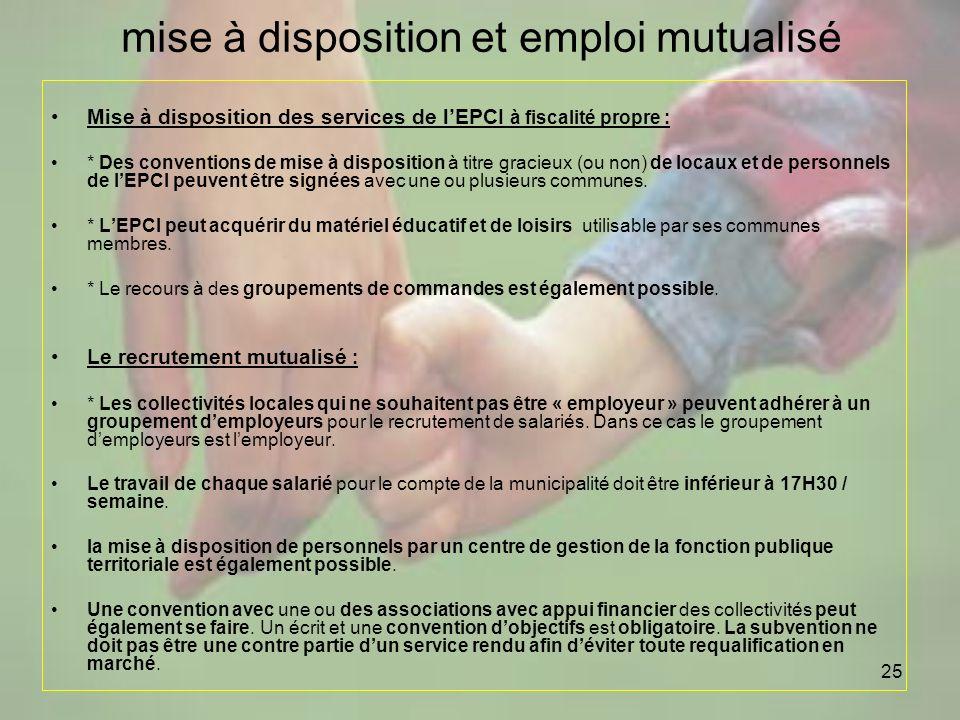 25 mise à disposition et emploi mutualisé Mise à disposition des services de lEPCI à fiscalité propre : * Des conventions de mise à disposition à titr