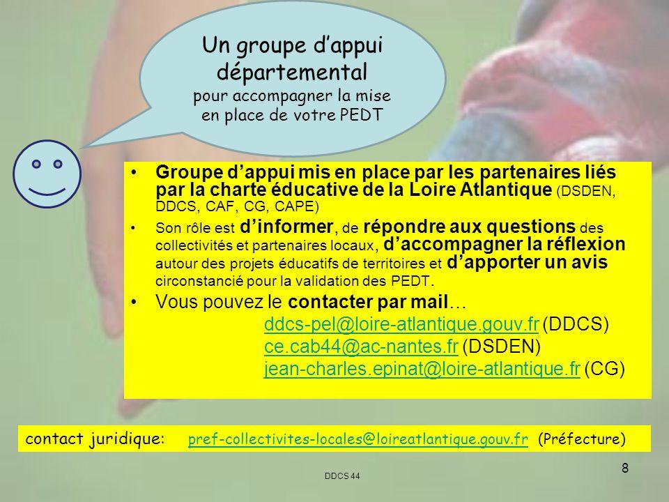 8 Groupe dappui mis en place par les partenaires liés par la charte éducative de la Loire Atlantique (DSDEN, DDCS, CAF, CG, CAPE) Son rôle est dinform