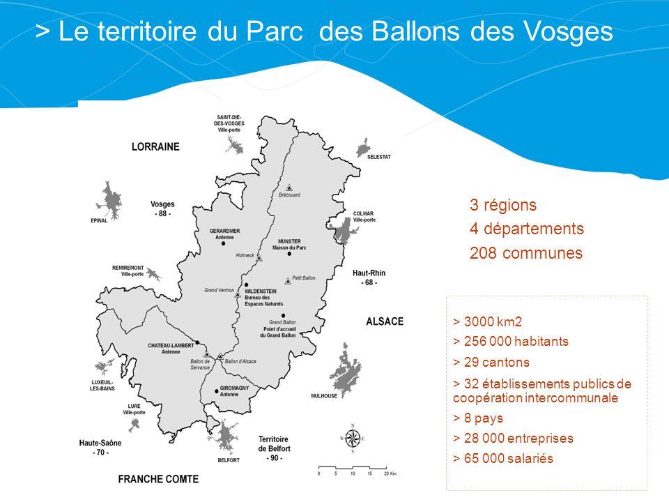> Le territoire du Parc des Ballons des Vosges > 3000 km2 > 256 000 habitants > 29 cantons > 32 établissements publics de coopération intercommunale >