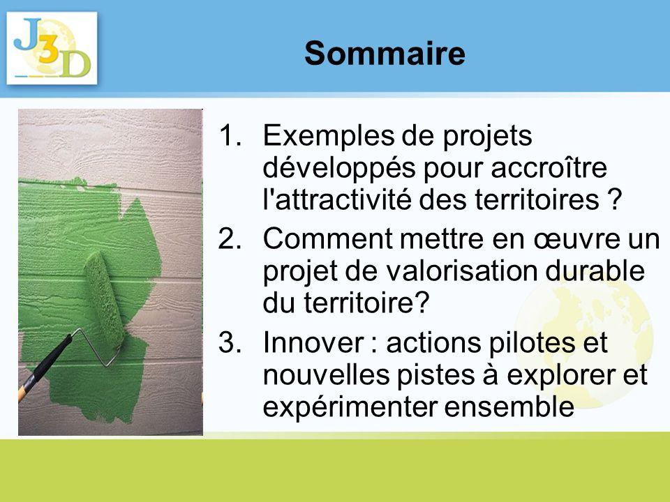 Sommaire 1.Exemples de projets développés pour accroître l'attractivité des territoires ? 2.Comment mettre en œuvre un projet de valorisation durable