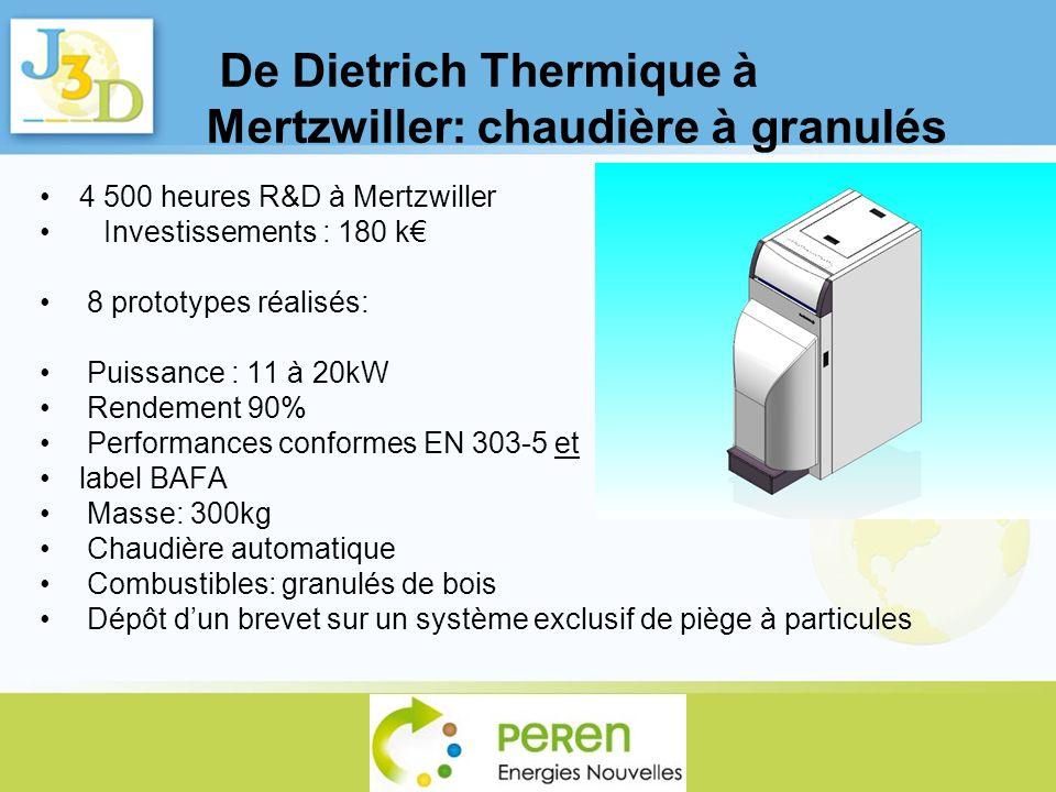 De Dietrich Thermique à Mertzwiller: chaudière à granulés 4 500 heures R&D à Mertzwiller Investissements : 180 k 8 prototypes réalisés: Puissance : 11