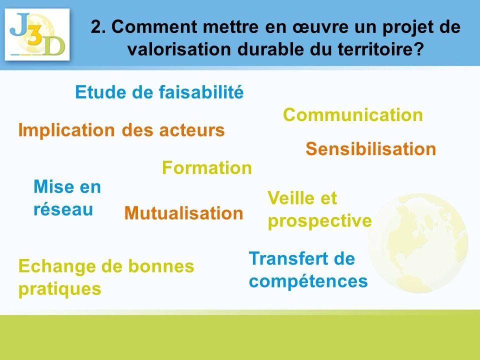 2. Comment mettre en œuvre un projet de valorisation durable du territoire? Mise en réseau Implication des acteurs Communication Transfert de compéten