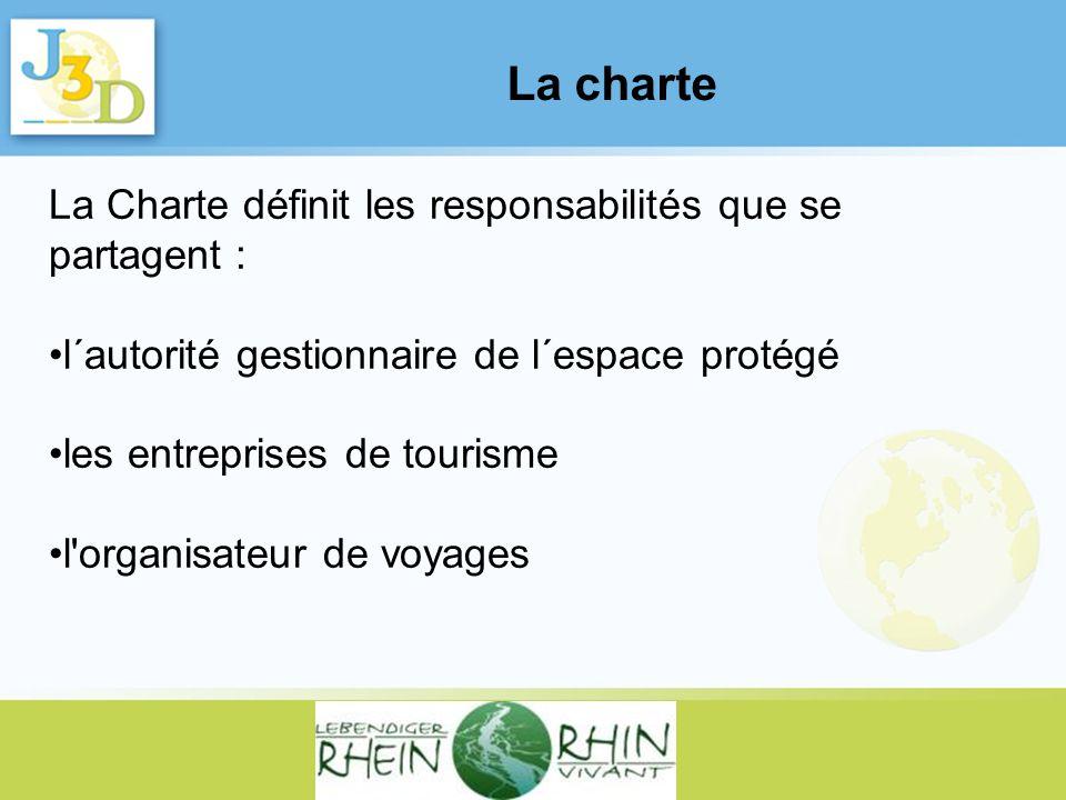 La charte La Charte définit les responsabilités que se partagent : l´autorité gestionnaire de l´espace protégé les entreprises de tourisme l'organisat