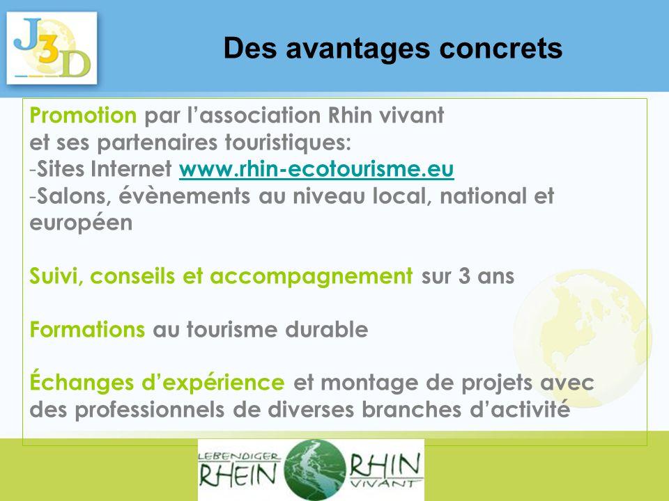 Promotion par lassociation Rhin vivant et ses partenaires touristiques: - Sites Internet www.rhin-ecotourisme.euwww.rhin-ecotourisme.eu - Salons, évèn