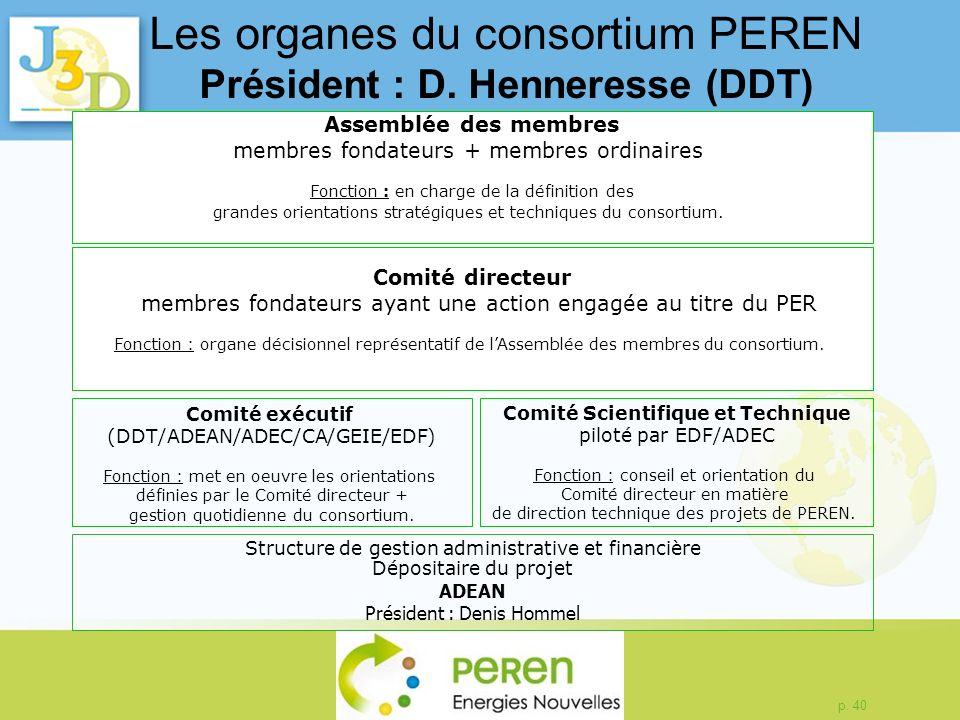 p. 40 Les organes du consortium PEREN Président : D. Henneresse (DDT) Assemblée des membres membres fondateurs + membres ordinaires Fonction : en char