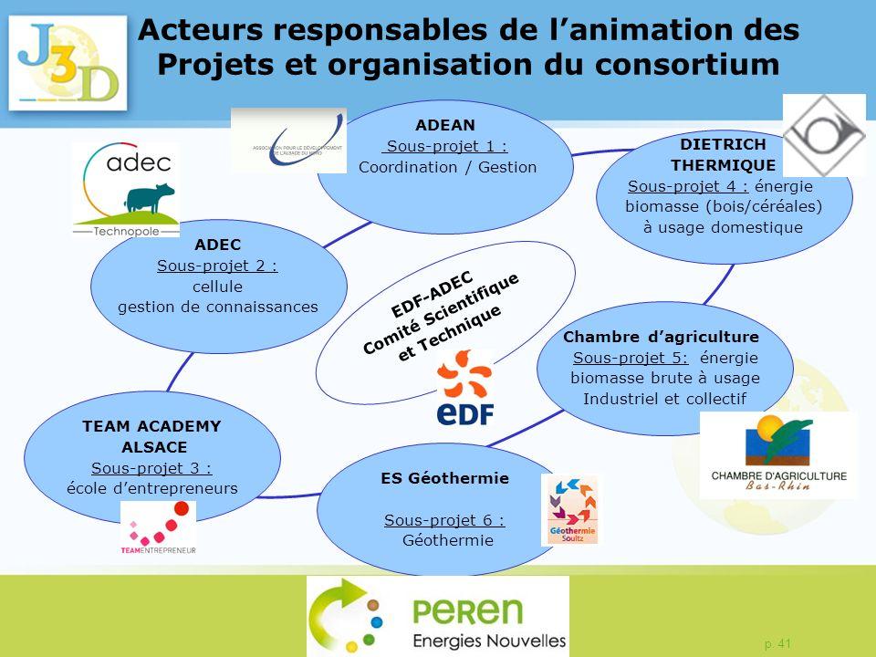 p. 41 Acteurs responsables de lanimation des Projets et organisation du consortium ADEC Sous-projet 2 : cellule gestion de connaissances ADEAN Sous-pr