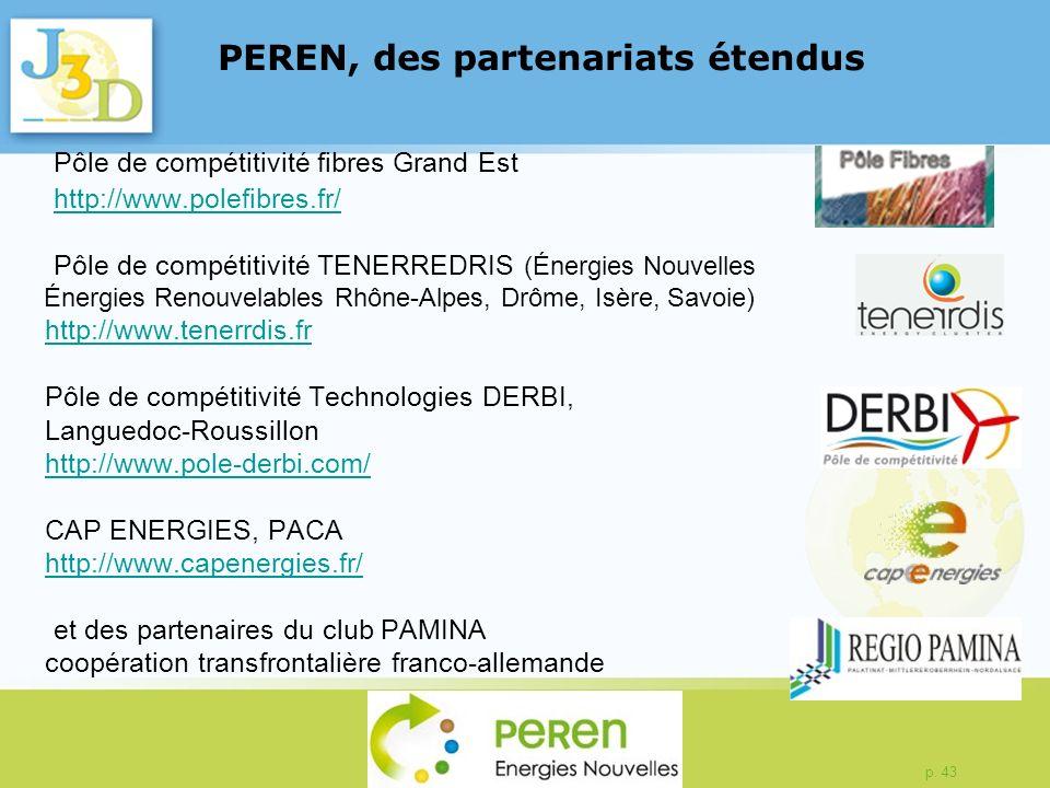 p. 43 Pôle de compétitivité fibres Grand Est http://www.polefibres.fr/ Pôle de compétitivité TENERREDRIS (Énergies Nouvelles Énergies Renouvelables Rh