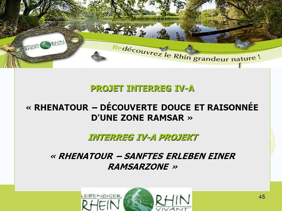 Projektpräsentation INTERREG IV A Verein lebendiger Rhein - Présentation du projet INTERREG IV A Association Rhin vivant 45 PROJET INTERREG IV-A « RHE