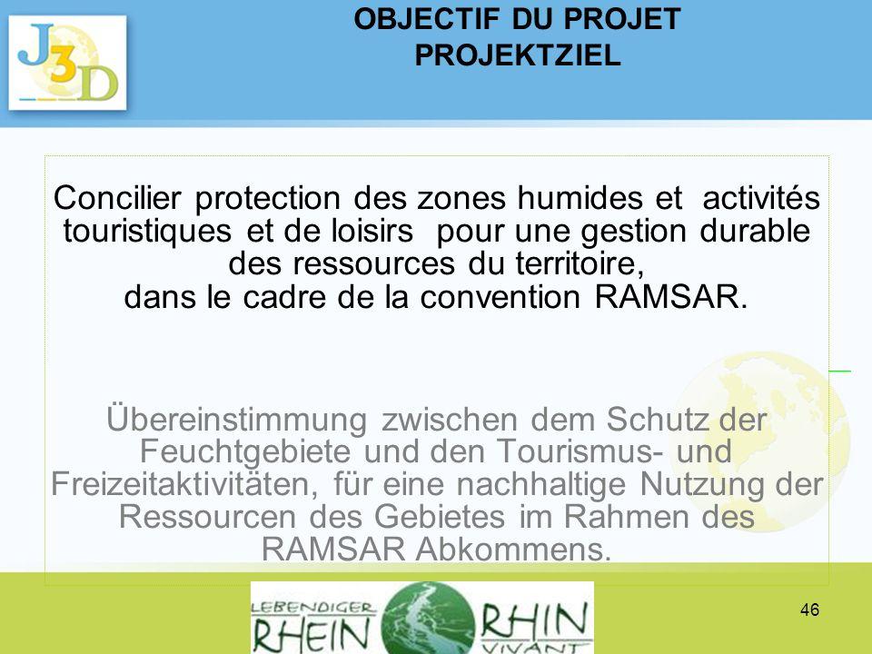 Projektpräsentation INTERREG IV A Verein lebendiger Rhein - Présentation du projet INTERREG IV A Association Rhin vivant 46 Concilier protection des z