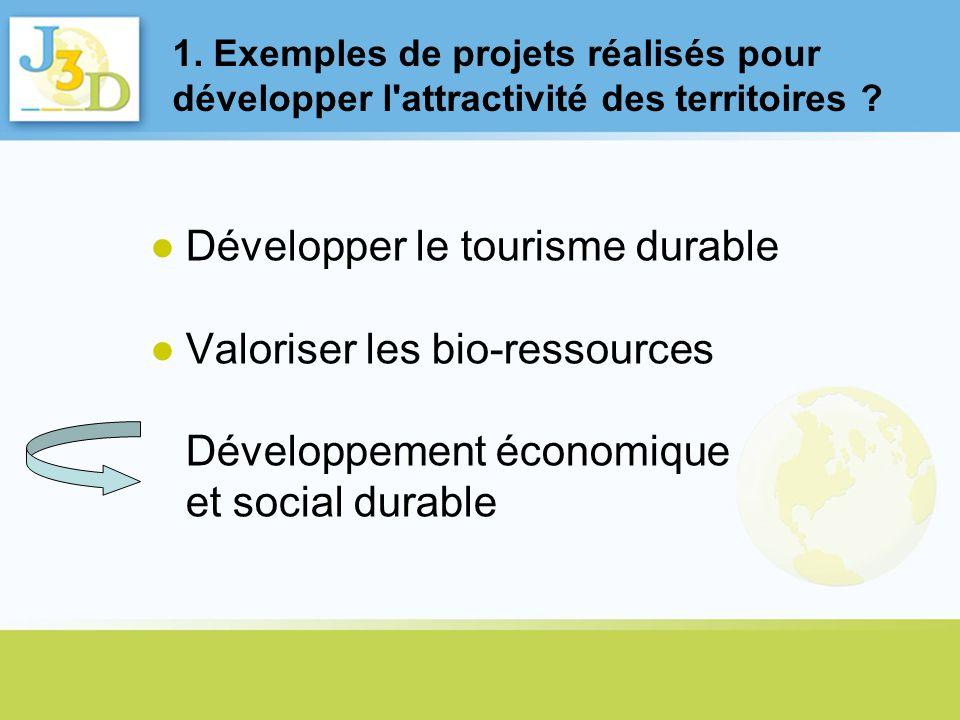 1. Exemples de projets réalisés pour développer l'attractivité des territoires ? Développer le tourisme durable Valoriser les bio-ressources Développe