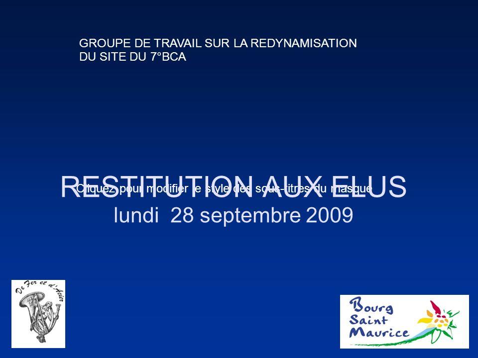 Cliquez pour modifier le style des sous-titres du masque RESTITUTION AUX ELUS lundi 28 septembre 2009 GROUPE DE TRAVAIL SUR LA REDYNAMISATION DU SITE