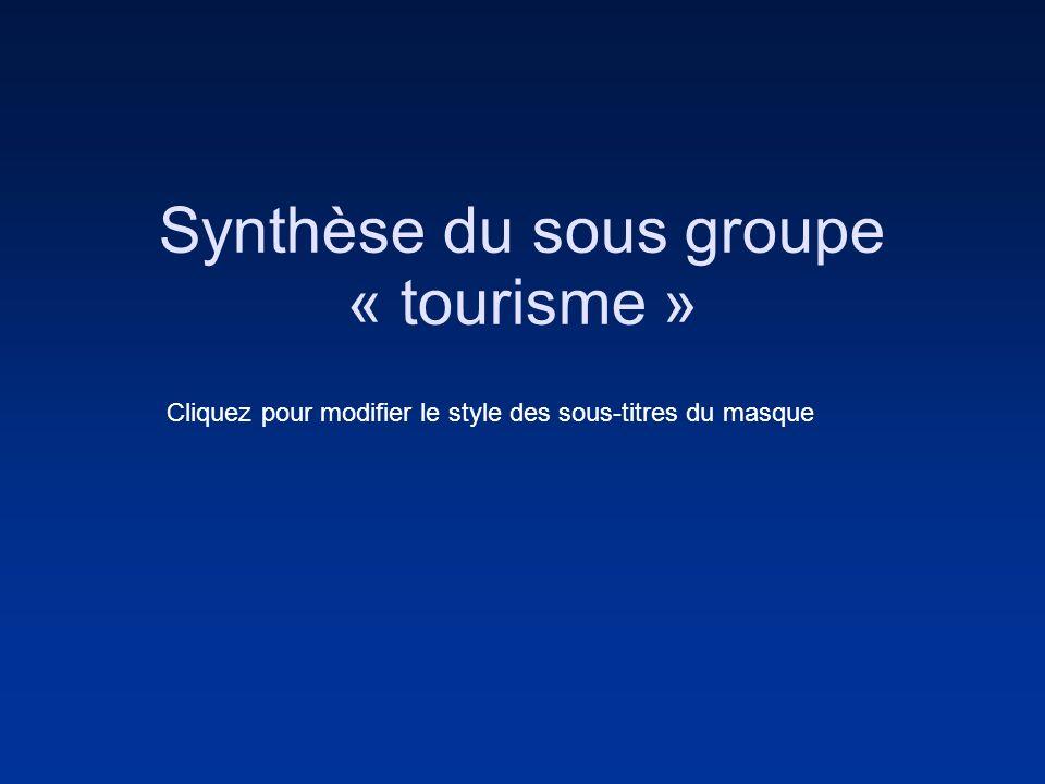 Cliquez pour modifier le style des sous-titres du masque Synthèse du sous groupe « tourisme »
