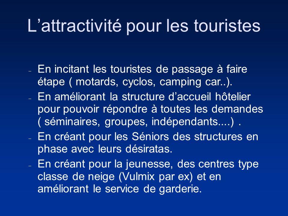 Lattractivité pour les touristes En incitant les touristes de passage à faire étape ( motards, cyclos, camping car..). En améliorant la structure dacc