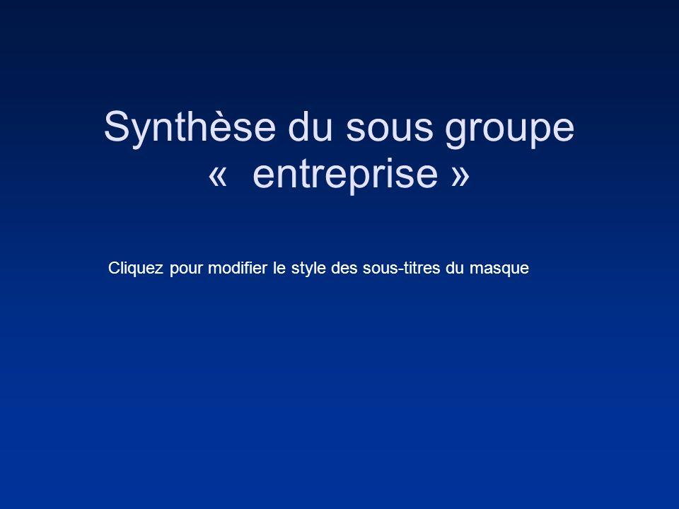 Cliquez pour modifier le style des sous-titres du masque Synthèse du sous groupe « entreprise »