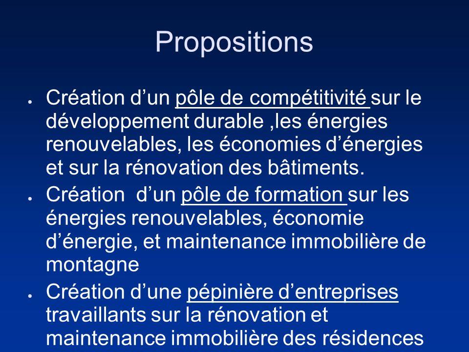 Propositions Création dun pôle de compétitivité sur le développement durable,les énergies renouvelables, les économies dénergies et sur la rénovation des bâtiments.