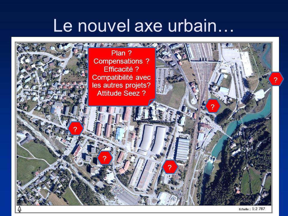 Le nouvel axe urbain… ? ? ? ? ? Plan ? Compensations ? Efficacité ? Compatibilité avec les autres projets? Attitude Seez ?