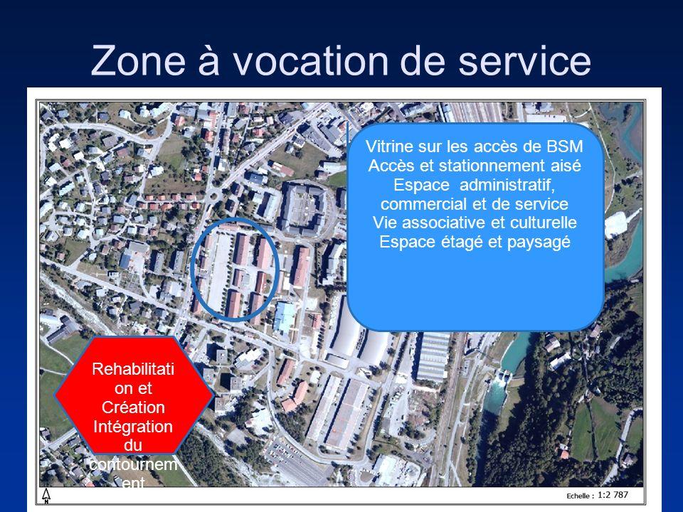 Zone à vocation de service Vitrine sur les accès de BSM Accès et stationnement aisé Espace administratif, commercial et de service Vie associative et