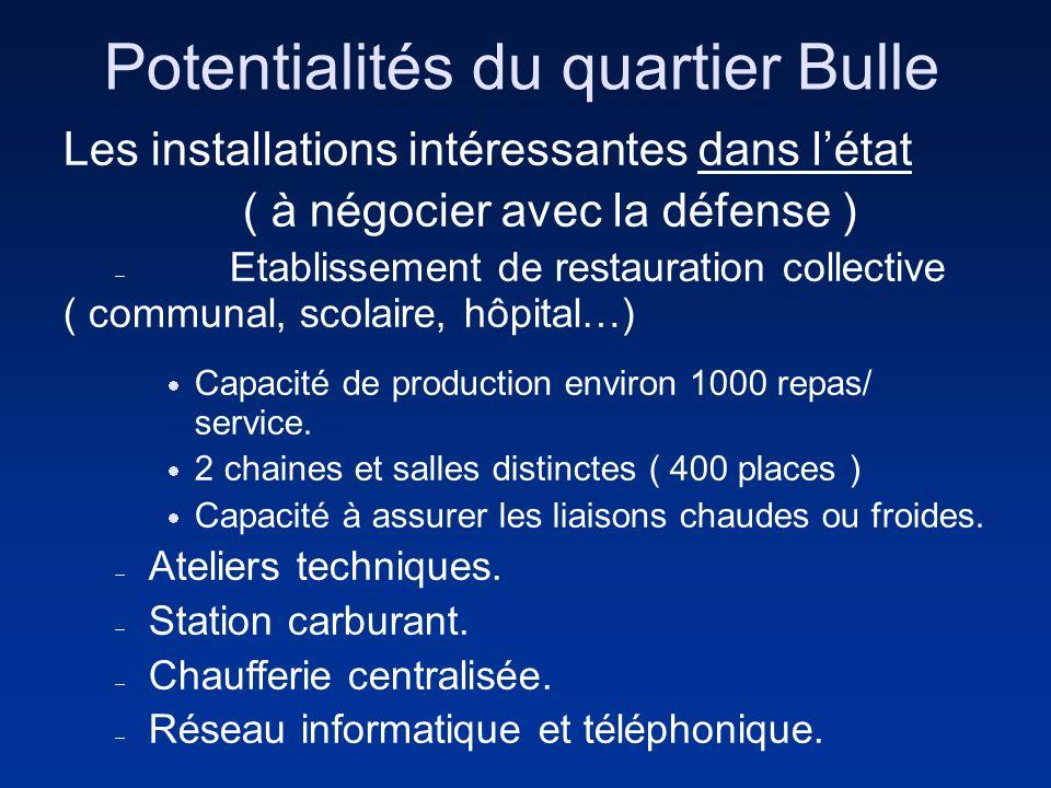 Potentialités du quartier Bulle Les installations intéressantes dans létat ( à négocier avec la défense ) Etablissement de restauration collective ( c