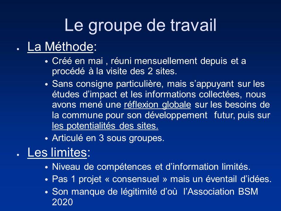Le groupe de travail La Méthode: Créé en mai, réuni mensuellement depuis et a procédé à la visite des 2 sites. Sans consigne particulière, mais sappuy