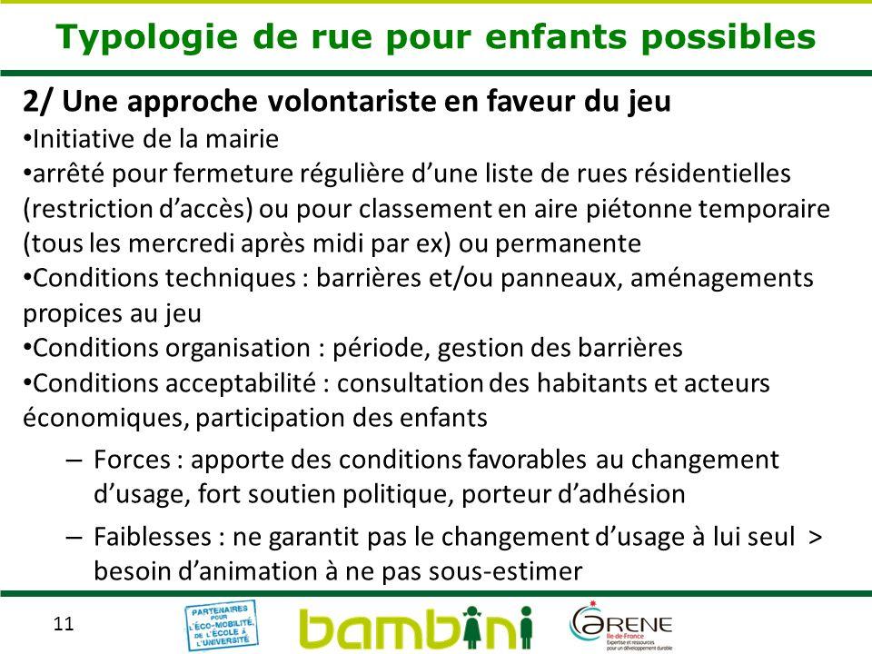11 Typologie de rue pour enfants possibles 2/ Une approche volontariste en faveur du jeu Initiative de la mairie arrêté pour fermeture régulière dune