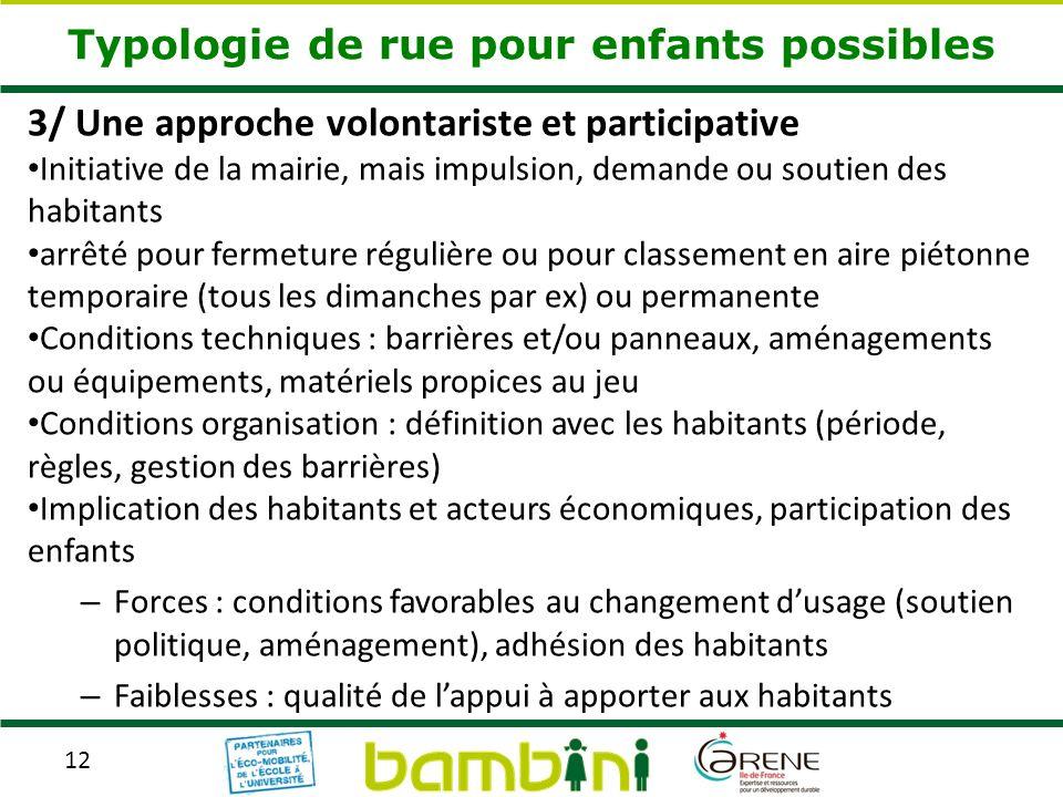 12 Typologie de rue pour enfants possibles 3/ Une approche volontariste et participative Initiative de la mairie, mais impulsion, demande ou soutien d