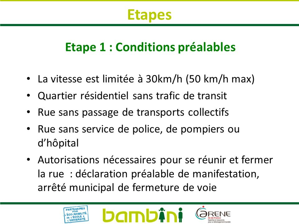 Etape 1 : Conditions préalables La vitesse est limitée à 30km/h (50 km/h max) Quartier résidentiel sans trafic de transit Rue sans passage de transpor
