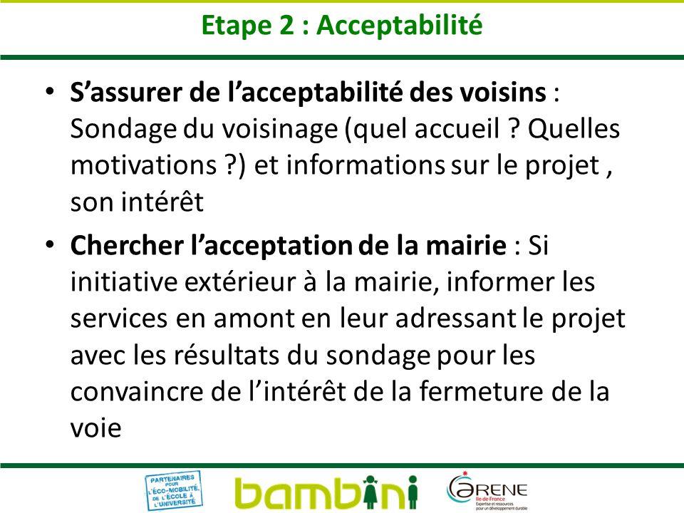 Etape 2 : Acceptabilité Sassurer de lacceptabilité des voisins : Sondage du voisinage (quel accueil ? Quelles motivations ?) et informations sur le pr