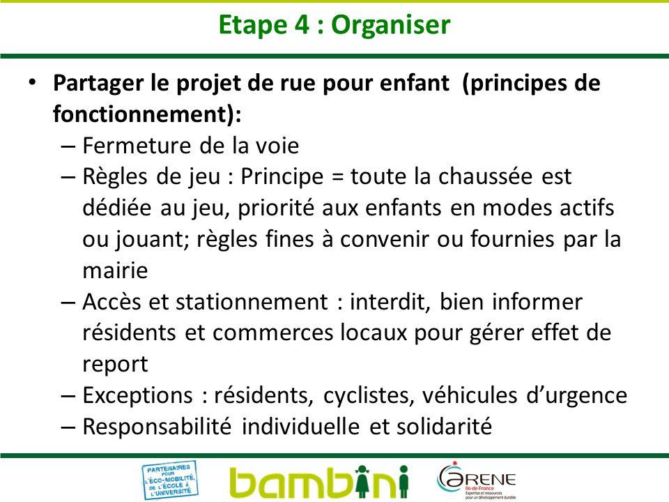 Etape 4 : Organiser Partager le projet de rue pour enfant (principes de fonctionnement): – Fermeture de la voie – Règles de jeu : Principe = toute la