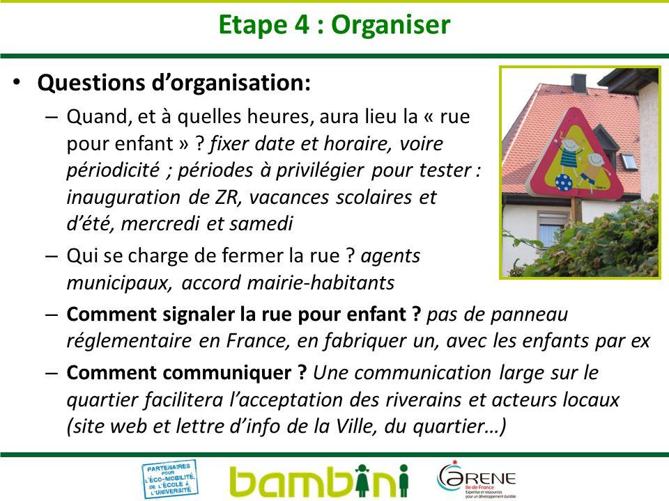 Etape 4 : Organiser Questions dorganisation: – Quand, et à quelles heures, aura lieu la « rue pour enfant » ? fixer date et horaire, voire périodicité