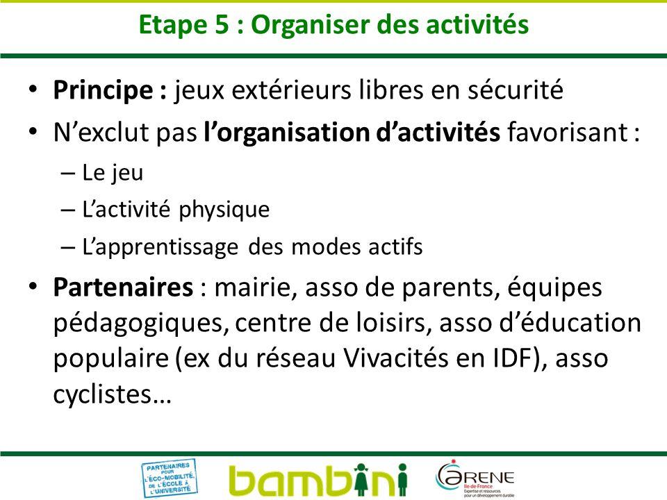 Etape 5 : Organiser des activités Principe : jeux extérieurs libres en sécurité Nexclut pas lorganisation dactivités favorisant : – Le jeu – Lactivité