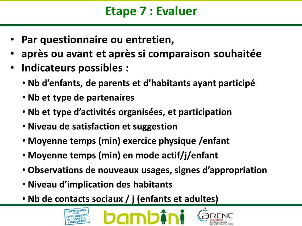 Etape 7 : Evaluer Par questionnaire ou entretien, après ou avant et après si comparaison souhaitée Indicateurs possibles : Nb denfants, de parents et