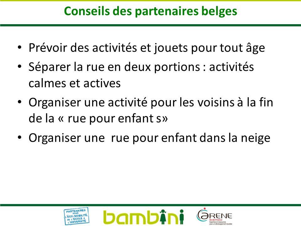 Conseils des partenaires belges Prévoir des activités et jouets pour tout âge Séparer la rue en deux portions : activités calmes et actives Organiser