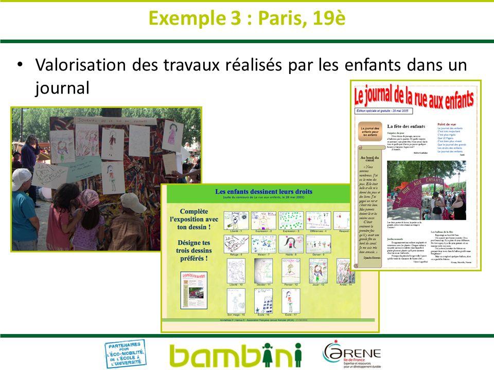Exemple 3 : Paris, 19è Valorisation des travaux réalisés par les enfants dans un journal