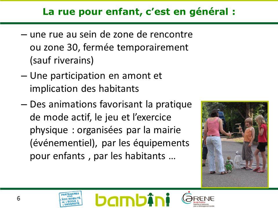 6 La rue pour enfant, cest en général : – une rue au sein de zone de rencontre ou zone 30, fermée temporairement (sauf riverains) – Une participation