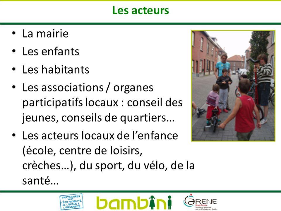 Les acteurs La mairie Les enfants Les habitants Les associations / organes participatifs locaux : conseil des jeunes, conseils de quartiers… Les acteu