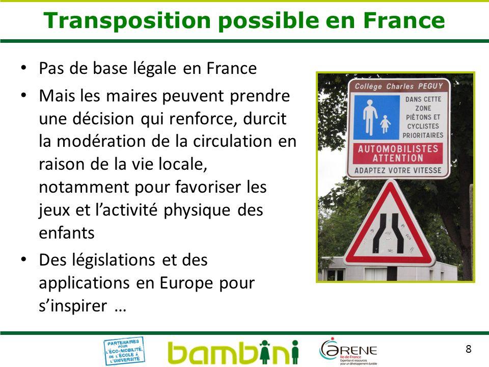 8 Pas de base légale en France Mais les maires peuvent prendre une décision qui renforce, durcit la modération de la circulation en raison de la vie l