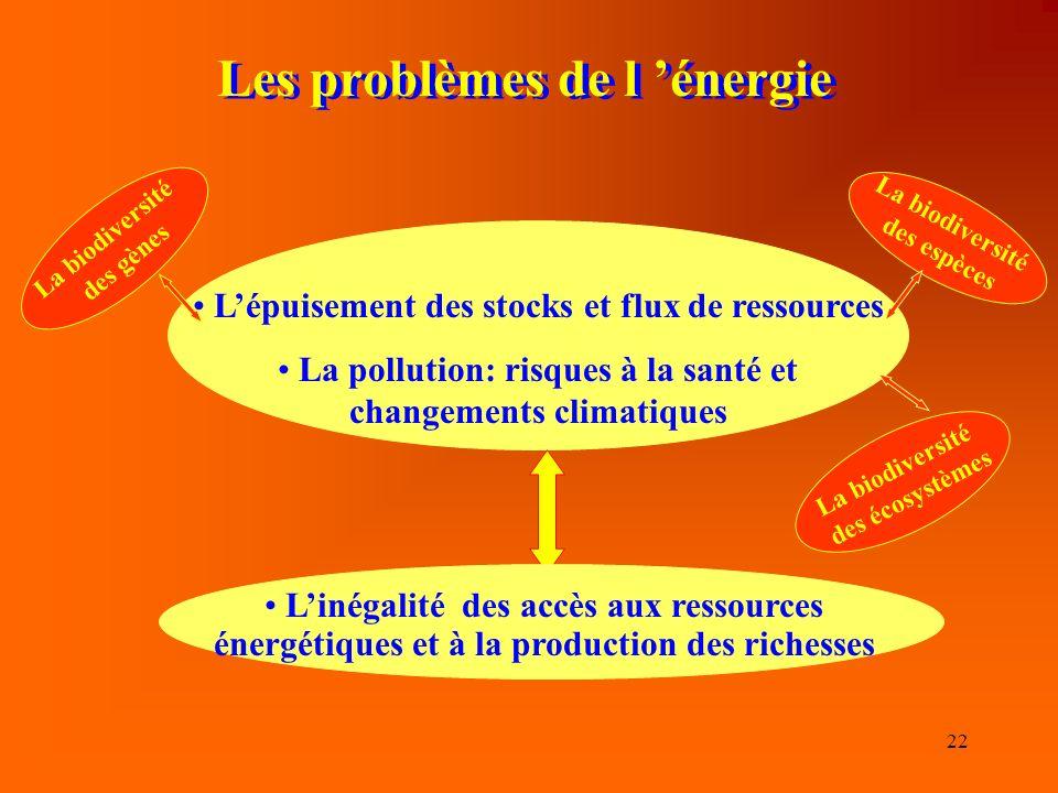 22 Les problèmes de l énergie Lépuisement des stocks et flux de ressources La pollution: risques à la santé et changements climatiques Linégalité des accès aux ressources énergétiques et à la production des richesses La biodiversité des gènes La biodiversité des espèces La biodiversité des écosystèmes