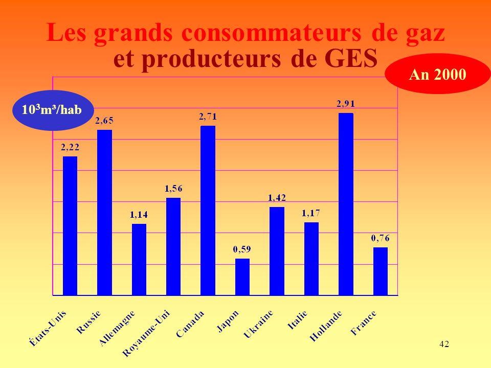 42 Les grands consommateurs de gaz et producteurs de GES 10 3 m³/hab An 2000