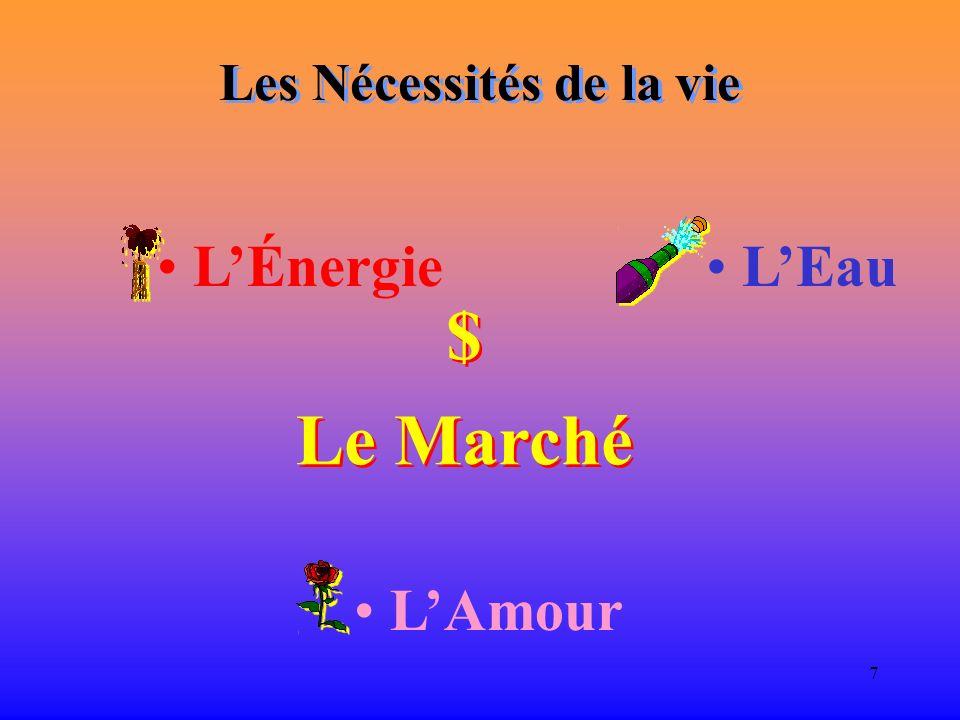 7 Les Nécessités de la vie LÉnergie LEau $ Le Marché $ Le Marché LAmour