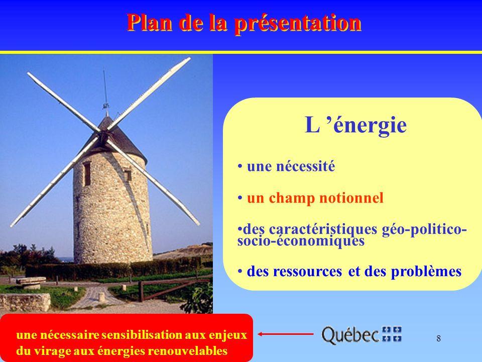 8 Plan de la présentation une nécessaire sensibilisation aux enjeux du virage aux énergies renouvelables L énergie une nécessité un champ notionnel des caractéristiques géo-politico- socio-économiques des ressources et des problèmes