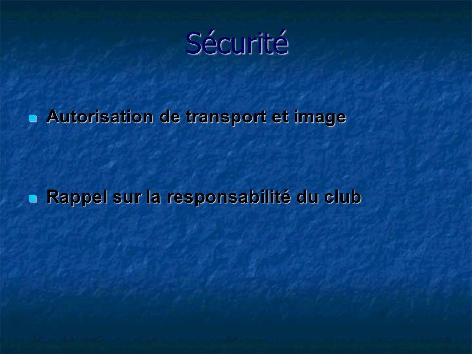 Autorisation de transport et image Autorisation de transport et image Rappel sur la responsabilité du club Rappel sur la responsabilité du club Sécurité