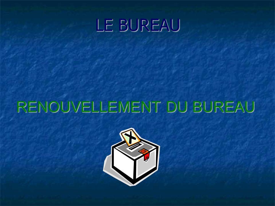 LE BUREAU RENOUVELLEMENT DU BUREAU