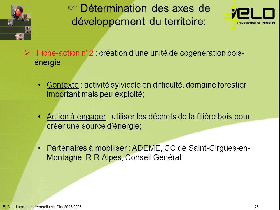 ELO – diagnostics/conseils AlpCity 2003/200628 Détermination des axes de développement du territoire: Fiche-action n°2 : création dune unité de cogénération bois- énergie Contexte : activité sylvicole en difficulté, domaine forestier important mais peu exploité; Action à engager : utiliser les déchets de la filière bois pour créer une source dénergie; Partenaires à mobiliser : ADEME, CC de Saint-Cirgues-en- Montagne, R.R.Alpes, Conseil Général: